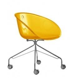 Chaise design a roulette GLISS orange