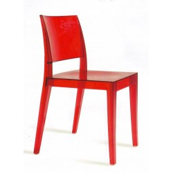 Chaise design rouge GYZA transparente