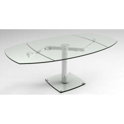 Table en verre design avec allonges noir