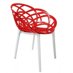 Fauteuil design deco FLORA transparente rouge