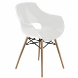 Fauteuil design bois OPAL WOX blanc.