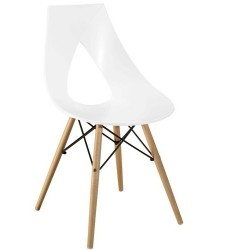 Chaise design bois NASTRO blanche.