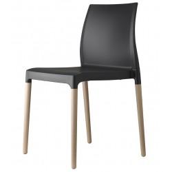 Chaise design plastique et bois CHLOE.