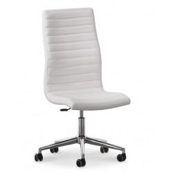 Chaise de bureau en cuir design ISTAR blanche