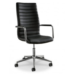 Chaise de bureau avec accoudoir ISTAR cuir noir