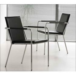 Chaise de bureau sans roulette VIVO cuir noir