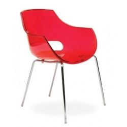 Fauteuil plexiglass design OPAL rouge