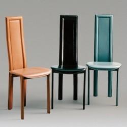 Chaise en cuir gainée LINDA