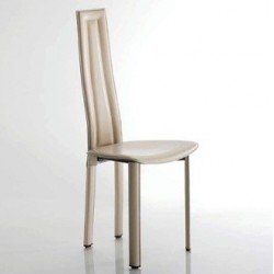 Chaise cuir moderne VEGAS ivoire