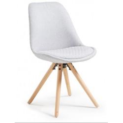 Chaise moderne SLAR pied hêtre massif gris clair