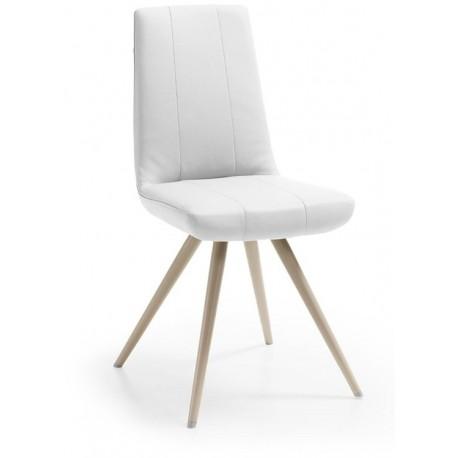 Chaise moderne CODUS de salle à manger pied perle et assise blanche