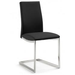 Chaise design TANAH pied luge vinyle noir