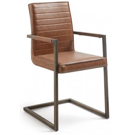 Chaise design salle à manger avec accoudoirs PYTE marron oxyde