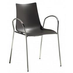 Chaise design en plastique avec accoudoir ZEBRA.