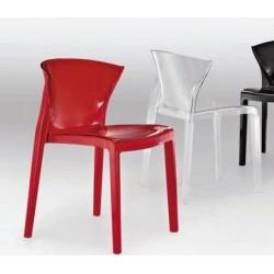 Chaise design en polycarbonate NORD rouge transparent