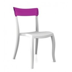 Chaise design plastique HERA blanche et violet