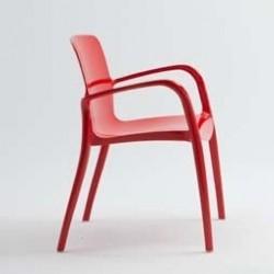 Chaise rouge design avec accoudoir TIFFANY par CASPRINI