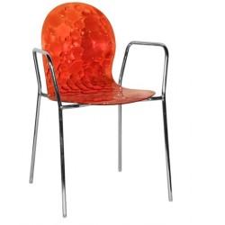 Chaise transparente avec accoudoir BUBBLES B rouge