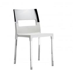 Chaise design chromé DIVA STAR lin