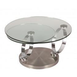 Table de salon design MARSEILLE verre transparent