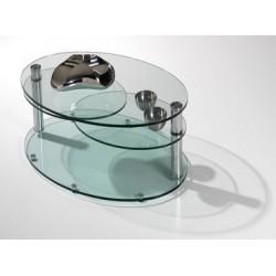 Table de salon en verre transparent BREST pivotant