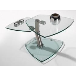 Table basse en verre transparent GRENOBLE plateau pivotant