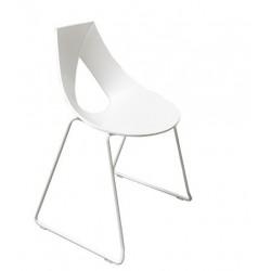Chaise blanche design NASTRO pieds chromé et technopolymère blanc